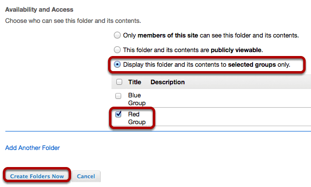 Enter item details, then create folder.